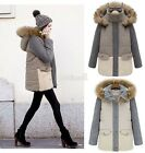 BE0D New Womens Ladies Faux Fur Hooded Jacket Warm Winter Parka Coat Outerwear