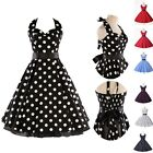 TOP VINTAGE 1950'S 1960'S ROCKABILLY RETRO COTTON POLKA DOTS PIN UP PARTY DRESS