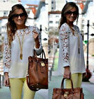Fashion Womens Sheer Sleeve Embroidery Lace Crochet Tee Chiffon Shirt Top Blouse