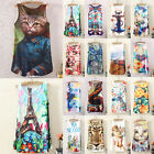 Women Fitted Sleeveless Graphic Printed T Shirt Blouse Vest Tank Tops Hot NEW*