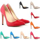 New PU Leather High Heels Pointed Toe Corset Work Pumps Court Shoes US Size 4-11