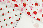 STRAWBERRY / STRAWBERRIES - PRINTED POLY COTTON FABRIC - WIDTH 114 CM