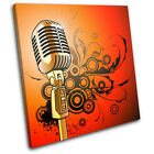 Microphone Abstract Musical SINGLE CANVAS WALL ART Picture Print VA