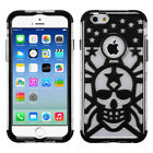 Apple iPhone 6 / 6s Stars Skull Hybrid Dual Layered Skin Case +Screen Protector