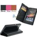 PU Flip Leather Stand Wallet Pouch Case Cover Skin For Sony Xperia Z L36h C6603