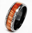 Tungsten Mens Carbide Ring 8mm Wood Inlay Dome Edge All Sizes Wedding Band M63