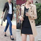 New Womens Long Sleeve Slim Fit Trench Double Breasted Coat Jacket Outwear Belt