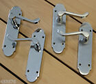 Polished or Satin Chrome Richmond Latch Door Handles on a Shaped Backplate