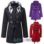 Womens Plus Size Duffle Jacket Ladies Size 16-28 Hooded Trench Fleece Coat