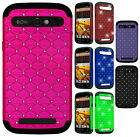 For Boost Mobile ZTE Warp Sync HYBRID IMPACT Dazzling Diamond Case Phone Cover