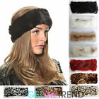 Womens Faux Fur Headband Girls Ladies Furry Leopard Plain Headwrap Band Hat