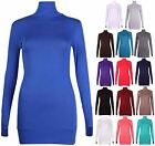 Womens Long Sleeve Ladies Stretch Thumb Hole Long Tunic Polo Top Plain Jumper