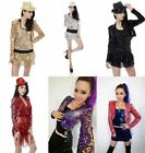 New Shine Glitter Sequin Girl Short Jacket Coat Crop Top Hot Jazz Dance Costume