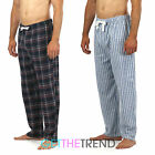 Mens 100% Cotton Check Stripe Flannel Pants Men's Cargo Bay Lounge Trousers S-XL