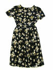 Ladies Black Floral Print Detail Skater Style Dress