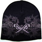 Sinful AFFLICTION Womens BEANIE Cap Hat GUNS Rhinestones Tattoo Snow Winter $50