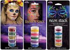5 Color Cream Face Makeup Neon Stack Theatrical Stage Halloween Glitter Rainbow