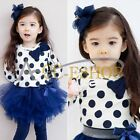 Girls Baby Toddler Kids Clothes 2 Piece Set Dress Top+Leggings Skirt 1-6Y Outfit