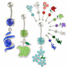 crystal dangly belly bar navel ring button body piercing 9FQK-PICK STYLES&COLOUR