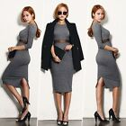 Autumn Winter Women Sexy Knit Sweater Bodycon Formal Evening Party Midi Dresses