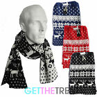 Mens Knitted Reindeer Scarf Men's Fairisle Aztec Red Black Thick Winter Scarf