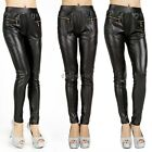 Women Leggings Stretchy Sexy Lady PU Faux Leather Jeggings Pencil Tights Pants