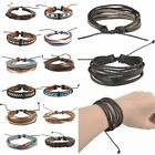 Handmade Leather Bracelets for Men Punk Leather Surfer Braided Bracelets
