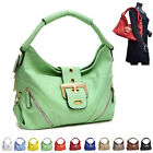 New Women Large Handbag Gold Tone Buckle Satchel Hobo Bag with Zipper Pouches