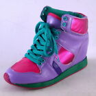 NEW WOMENS PURPLE MULTICOLORED LACEUP HIGH TOP WEDGE SNEAKER