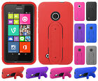 For Nokia Lumia 530 Rubber Hybrid HARD Phone Cover Case Snap Tail STAND