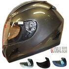 LEO-818 Full Face Motor-cycle Motorbike Riding Helmet Gloss Titanium + Sun Visor
