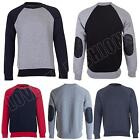 Mens Raglan Sweatshirt Quilted Patched Sleeve Crew Neck Size S M L XL