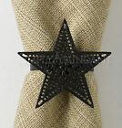 Black Star Napkin Rings by Park Designs, Choice of Sets, Punched Metal, Prim