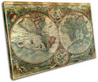 Old World Atlas Latin Maps Flags SINGLE CANVAS WALL ART Picture Print VA