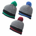 U47 MENS RETRO DESIGN CHUNKY KNITTED TURN UP ROLL UP BOBBLE WOOLY BEANIE SKI HAT