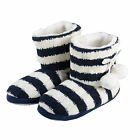 Ladies Boot Slippers - Nautical Knit Booties With Non Slip Sole - A Great Gift!