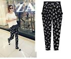 Womens Skull Floral Print Elastic Waist Highly Elastic Pants Trousers Size 8-24