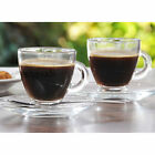 Set Of Glass Tea Coffee Latte Cappuccino Hot Drinks Mugs Glasses Cups & Saucers