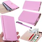SLIM Pink  Universal Wallet Case Leather Pouch Cover For HTC Accessory