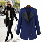 Autumn Black Womens WOOL Synthetic Leather Long Coat Jacket Trench Parka Outwear