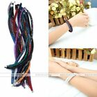 Fashion Womens Crystal Wrap Magnetic Clasp Mesh Double Bracelet Necklace Gift