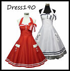 dress190 ROT ODER WEIß HALTER 50 DER PINUP ROCKABILLY  COCKTAIL PROM PARTY KLEID