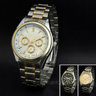 New Men's Sub-Dials Stainless Steel Analog Sport Quartz Rhinestones Wrist Watch