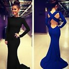 Sexy Women Long Sleeve Prom Ball Cocktail Party Maxi Dress Formal Evening Gown