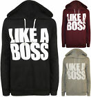 New Womens Like A Boss Slogan Print Long Sleeve Ladies Hooded Top Hoodie 8 - 14