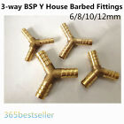 5pcs 3-way BSP Y House Barbed Fittings Pipe Brass Coupler Adapter 6/8/10/12mm