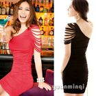 Sexy Women One Shoulder Backless Bodycon Evening Party Goth Cocktail Mini Dress