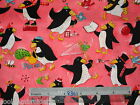 Penguin fish Sea cotton quilting fabric - *Choose design & size