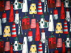 Lighthouse Seagull sailboat dolphin sea cotton quilt fabric *Choose design size