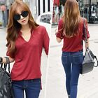 Korean Vintage Women Casual Cotton Blouse Office Tee Casual T Shirt Top Burgundy